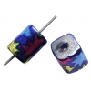 Glass Beads 9X8mm Tube Square with Hole Speckle Royal/Pink